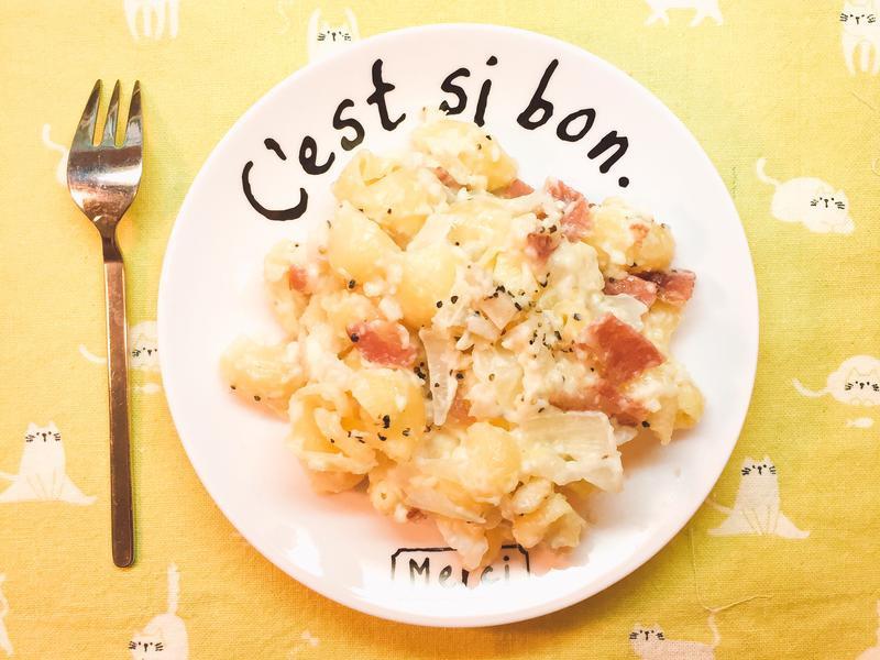 [微波爐食譜]15分鐘奶油培根義大利麵