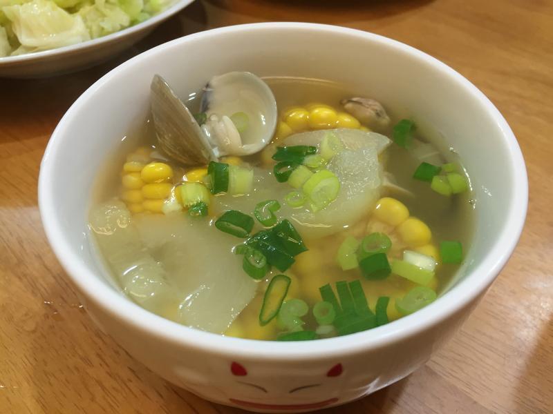 蛤蜊黃瓜玉米湯