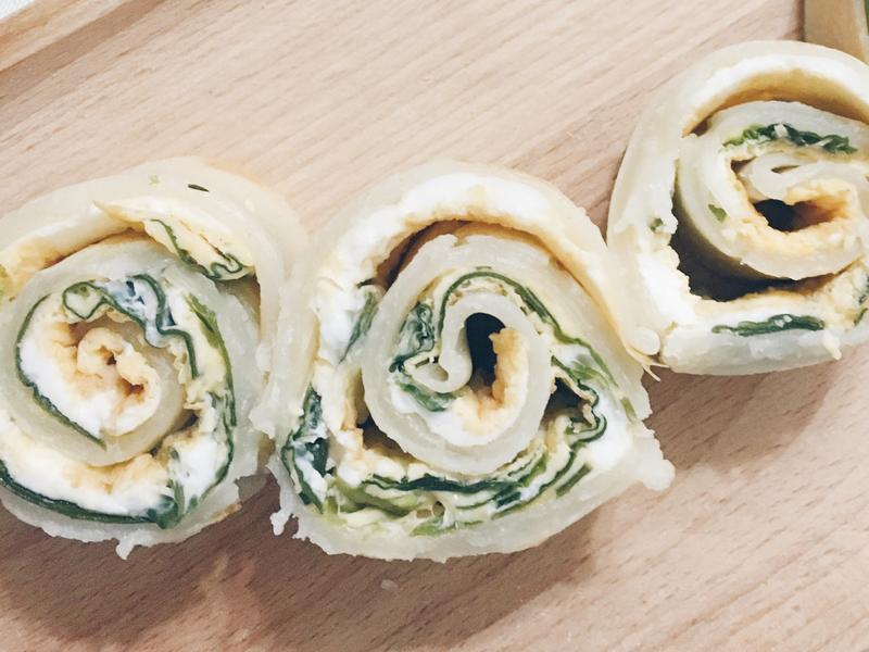 寶寶食譜-自製餅皮,海帶芽蛋餅