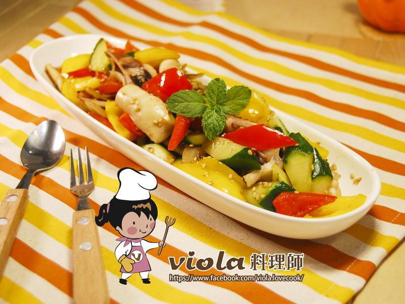日式風味彩蔬炒魷魚