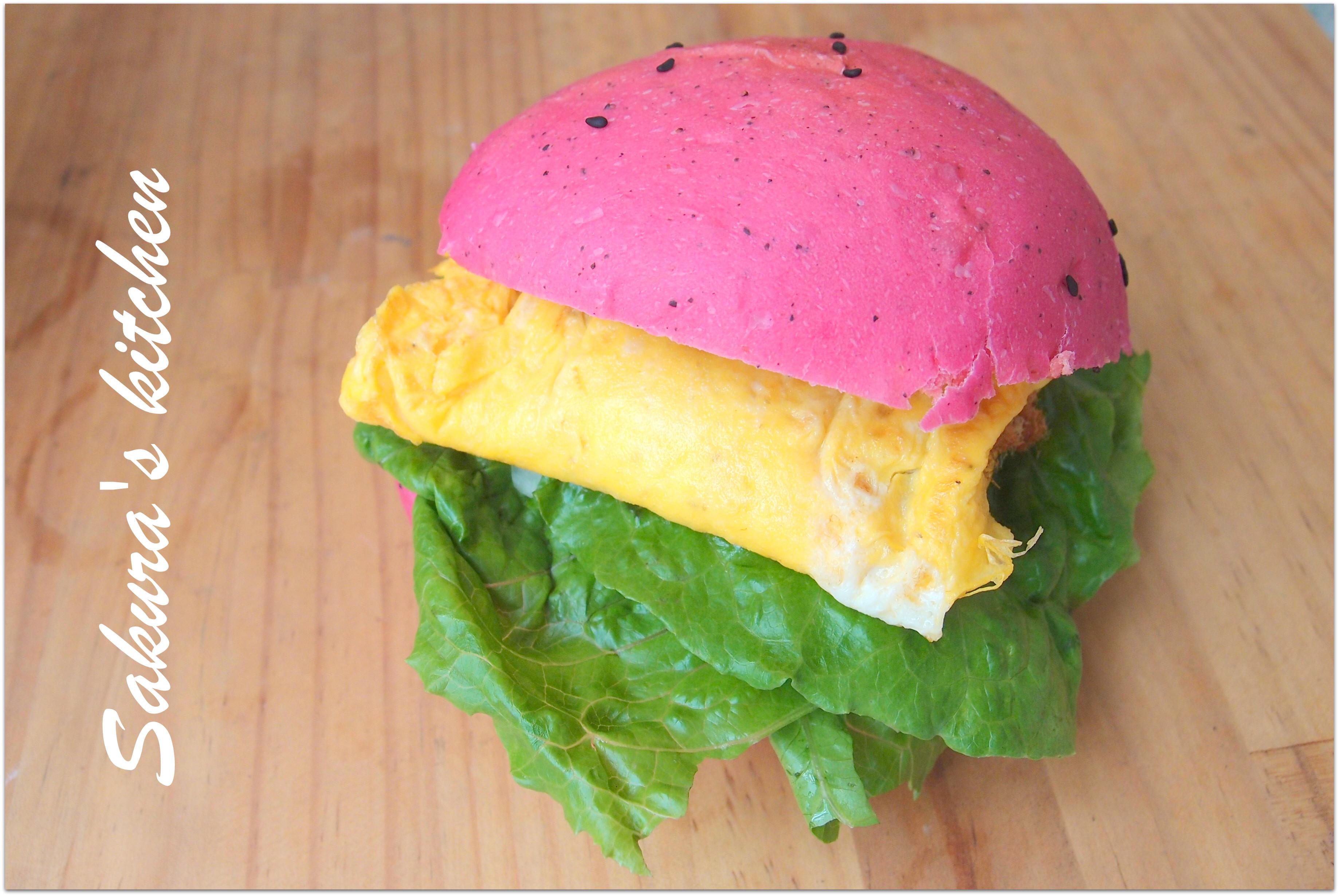♥我的手作料理♥ 粉紅泡泡漢堡