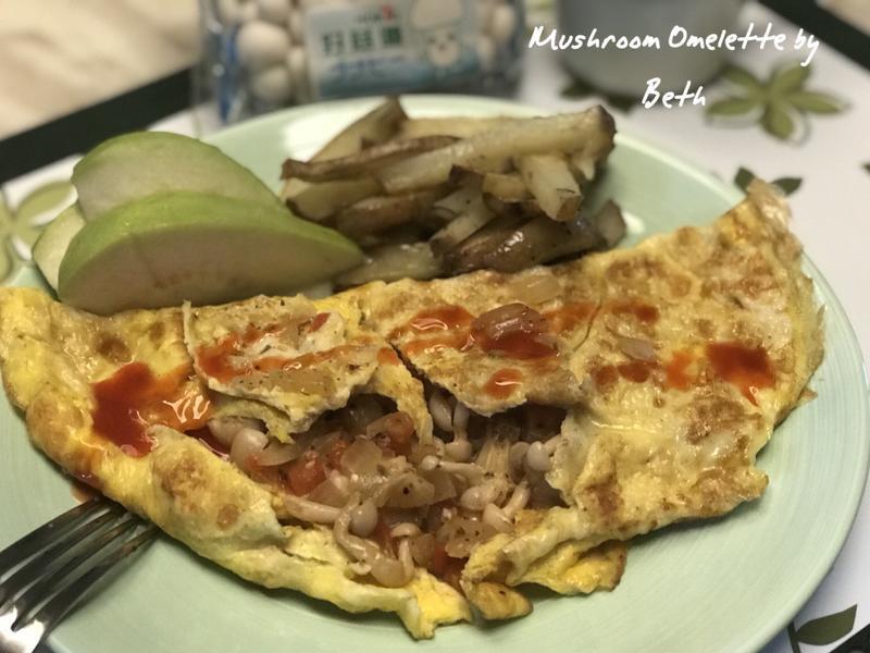 菇菇歐姆蛋佐烤薯條[好菇道好食光]-早餐