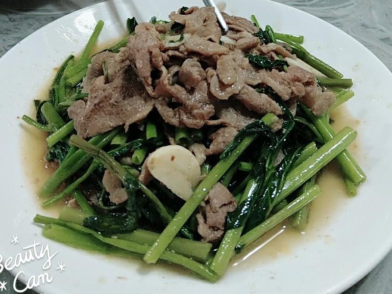 沙茶羊肉炒空心菜