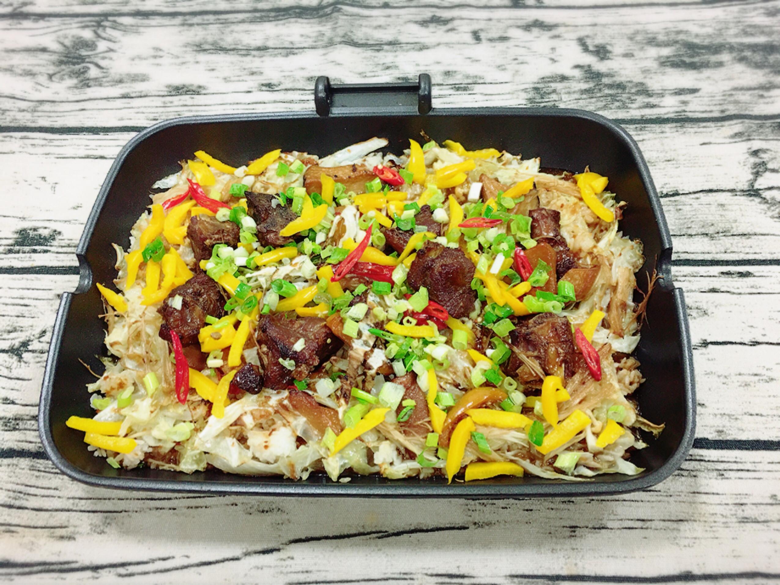 高麗菜排骨燉飯(水波爐料理)