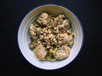 堅果蒜香青醬雞肉麵