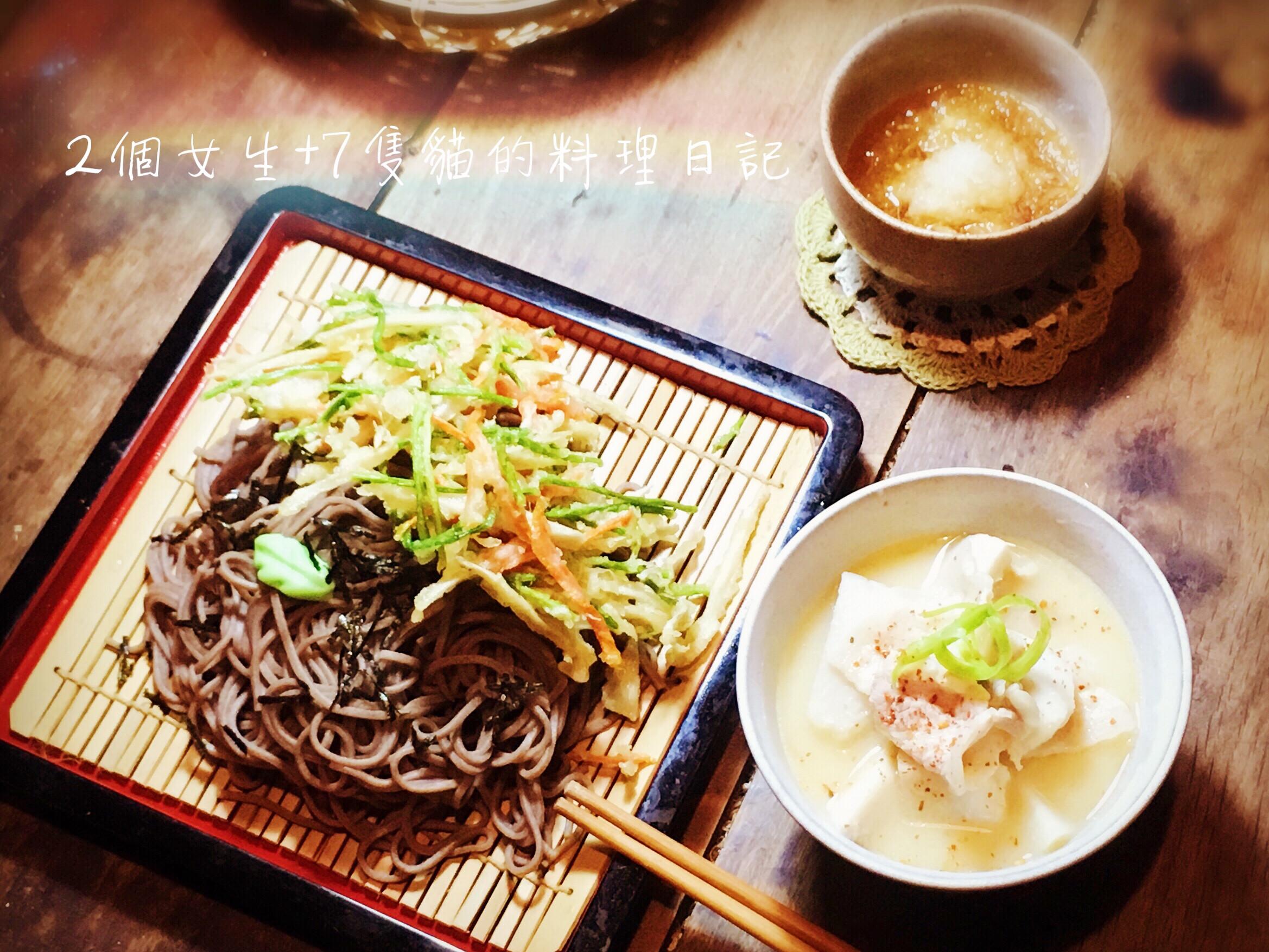野菜天婦羅蕎麥冷麵+里芋豬肉味噌湯