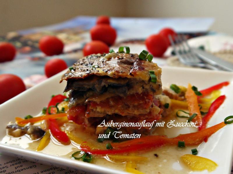 焗烤圓茄、櫛瓜、蕃茄千層派