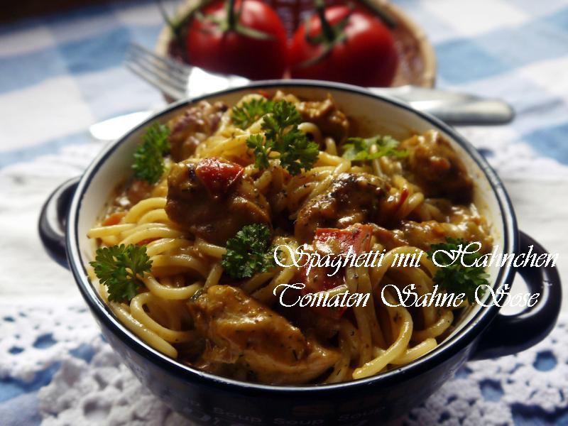 Spaghetti佐雞肉、蕃茄、鮮奶油醬