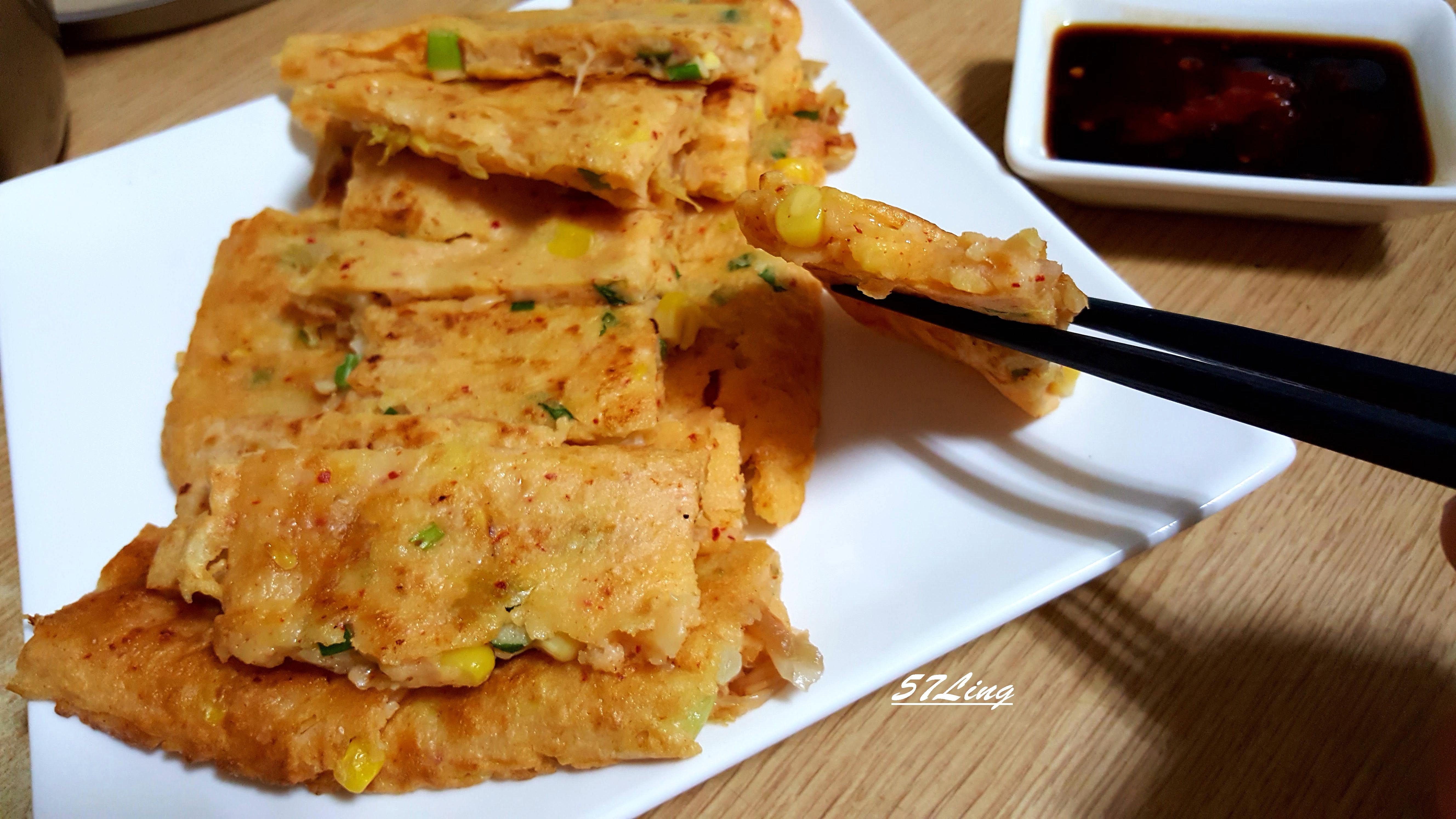 玉米泡菜煎餅(愛之味黃金萬穗陽光玉米粒)