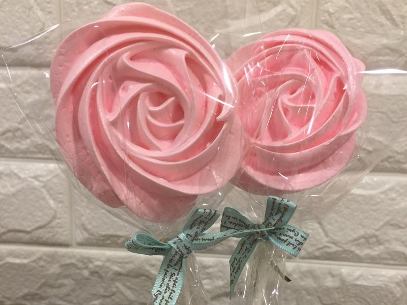 玫瑰馬林糖棒棒糖