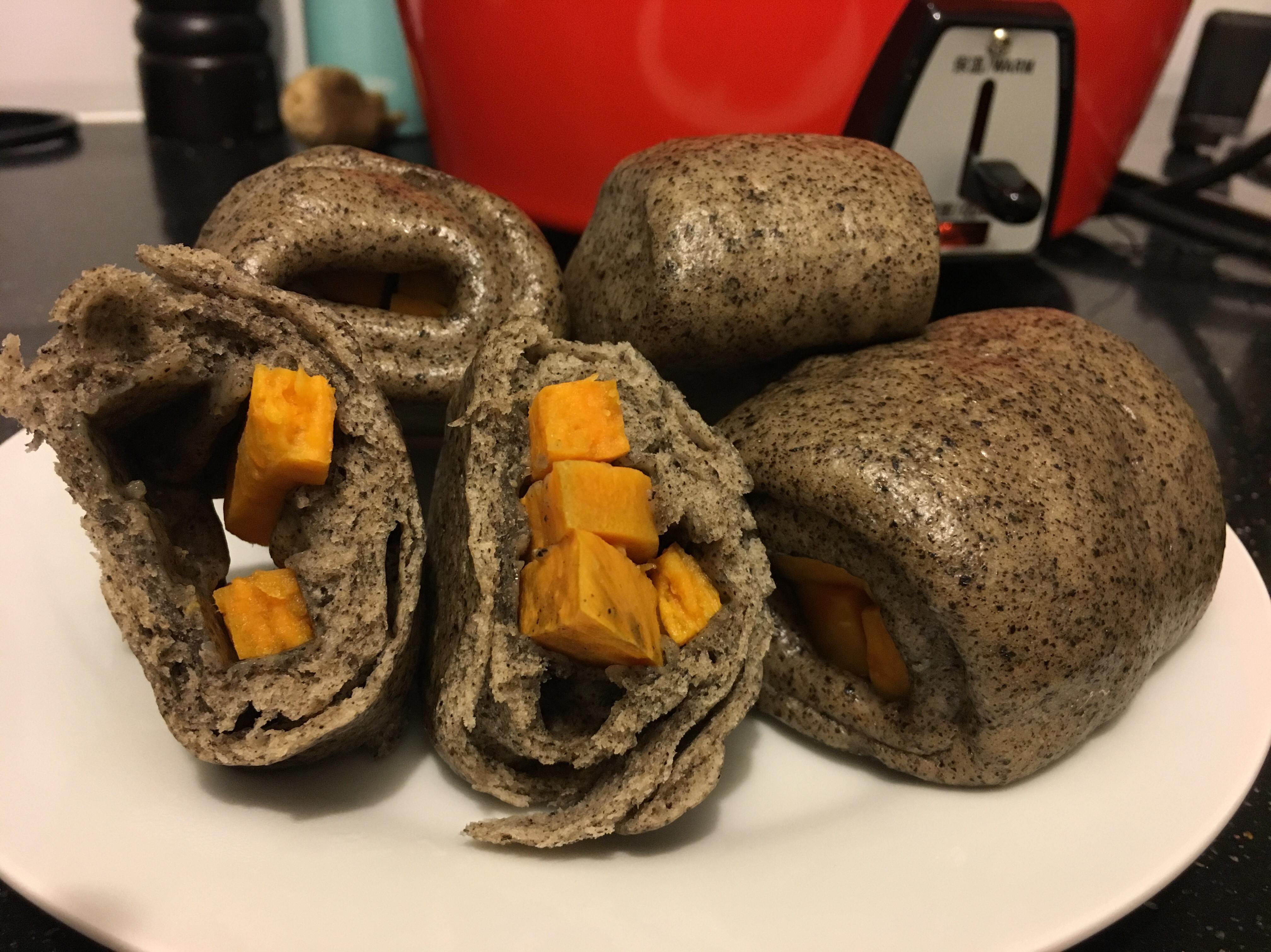 黑芝麻牛奶饅頭(電鍋版)
