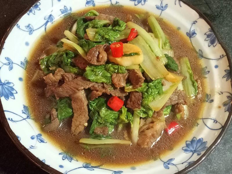 小白菜炒牛肉