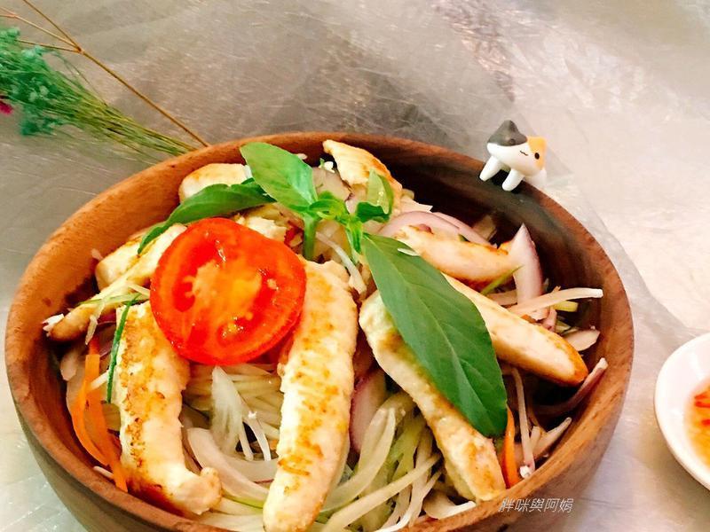 泰式酸辣青木瓜虱目魚柳(海鮮)溫沙拉