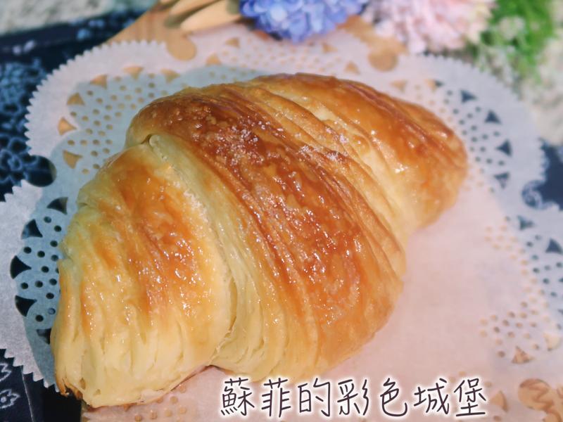 『楓糖海鹽牛角可頌』用麵包機打出薄膜麵糰