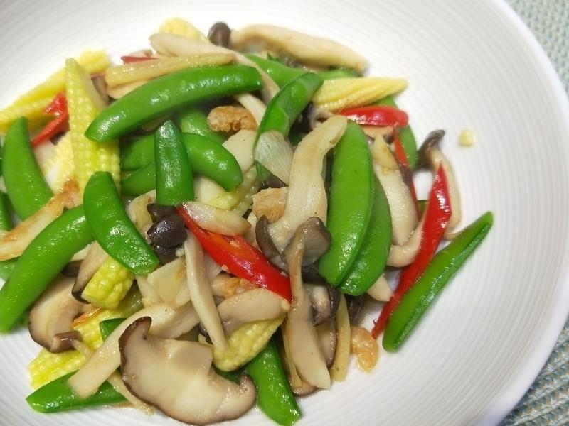 炒甜豆鮮菇玉米筍