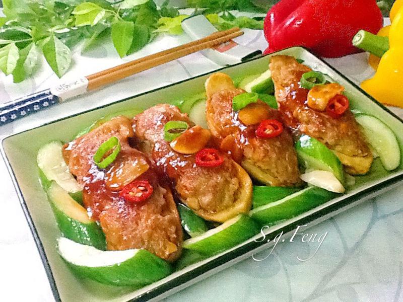 茄汁杏鮑菇鑲肉[台糖安心䐁]