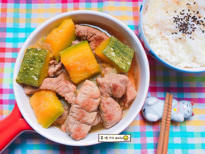 日式南瓜燉肉😋電鍋健康低脂料理~
