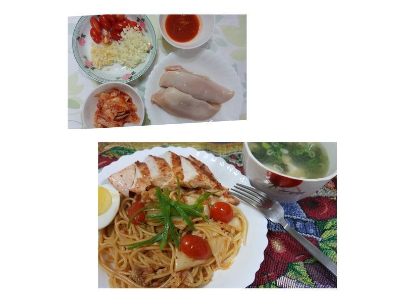 雞肉泡菜義大利麵