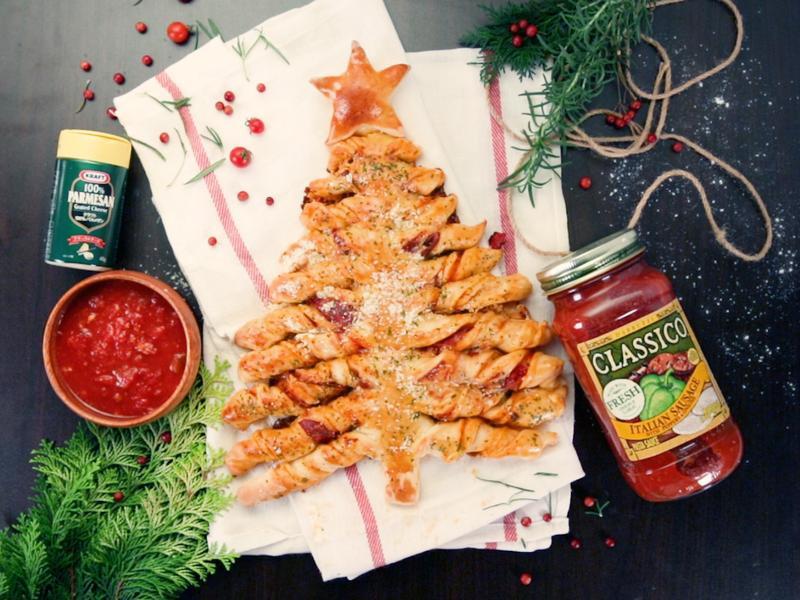 聖誕披薩捲捲樹