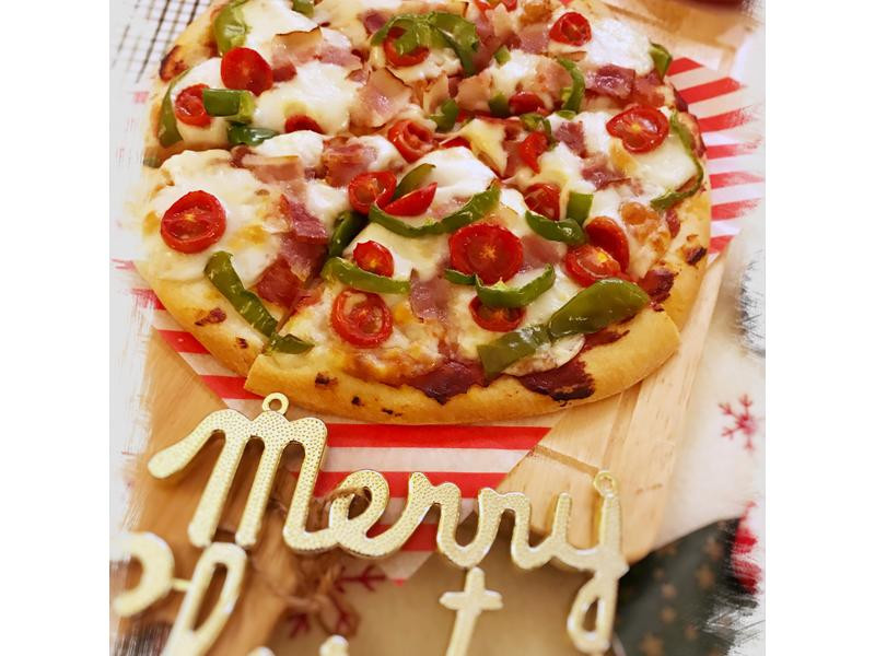 培根青椒披薩 <聖誕風>