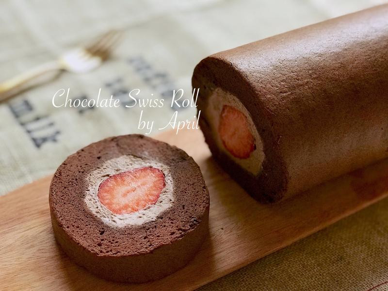 🍓濃郁可可草莓蛋糕捲(影音食譜)