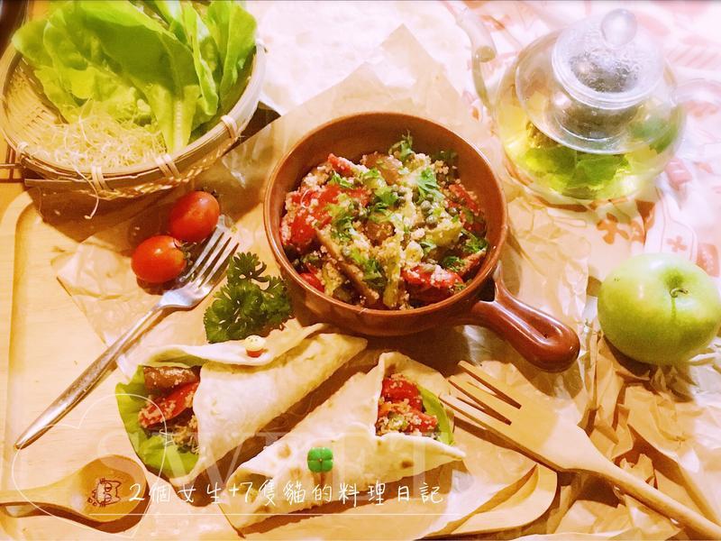 烤甜椒庫斯庫斯沙拉捲餅&摩洛哥茶