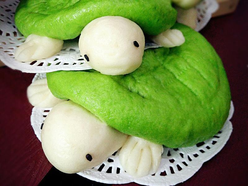乌龟造型绿茶包子