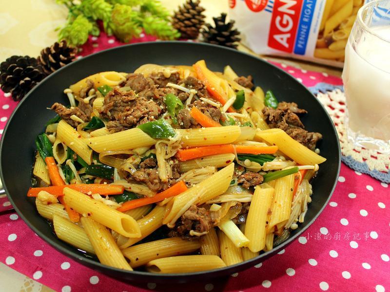 韓式辣炒牛肉筆管麵