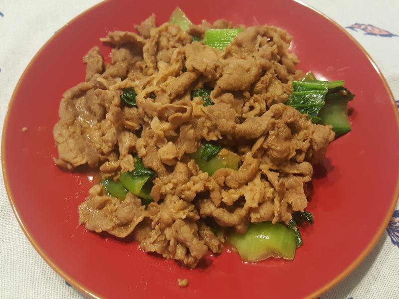 沙茶醬炒豬肉青江菜(青蔥)