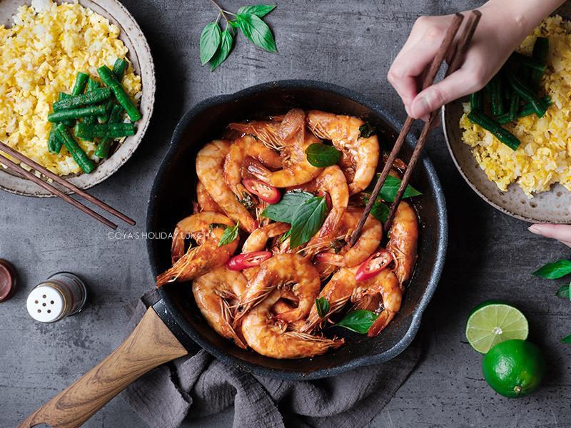泰式風味蝦料理❤紅咖哩塔香檸檬酸甜蝦