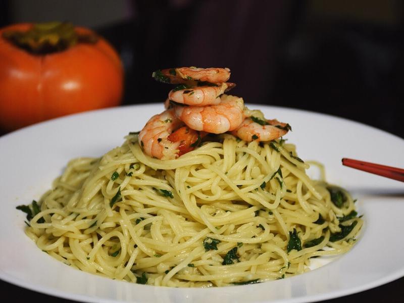 橄欖油蒜香鮮蝦義大利麵