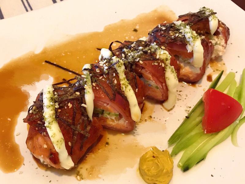 [胖睡魚壽司]照燒低脂培根鮭魚卷