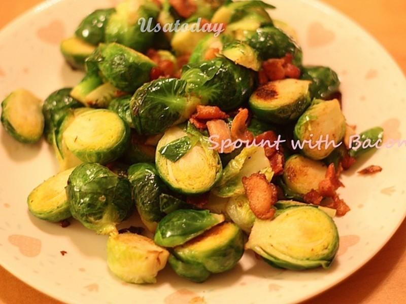 很硬別怕-培根炒甘藍菜 Brussels sprouts with bacon