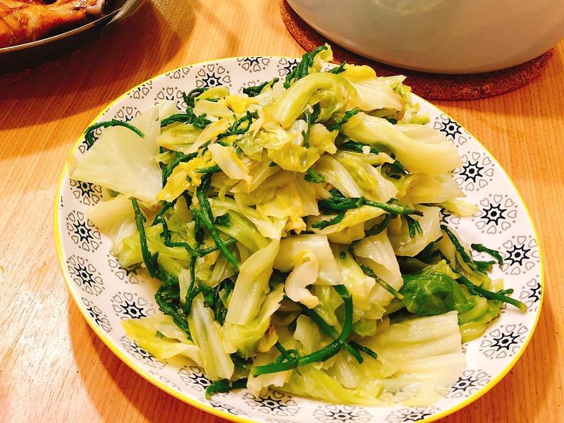 海蘆筍炒高麗菜