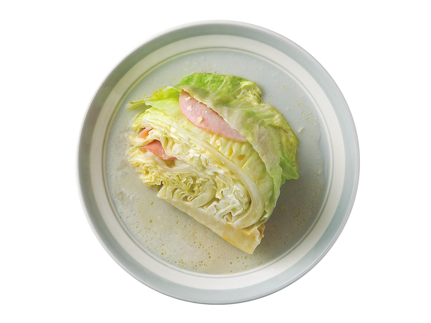 【宵夜】火腿高麗菜(微波料理)