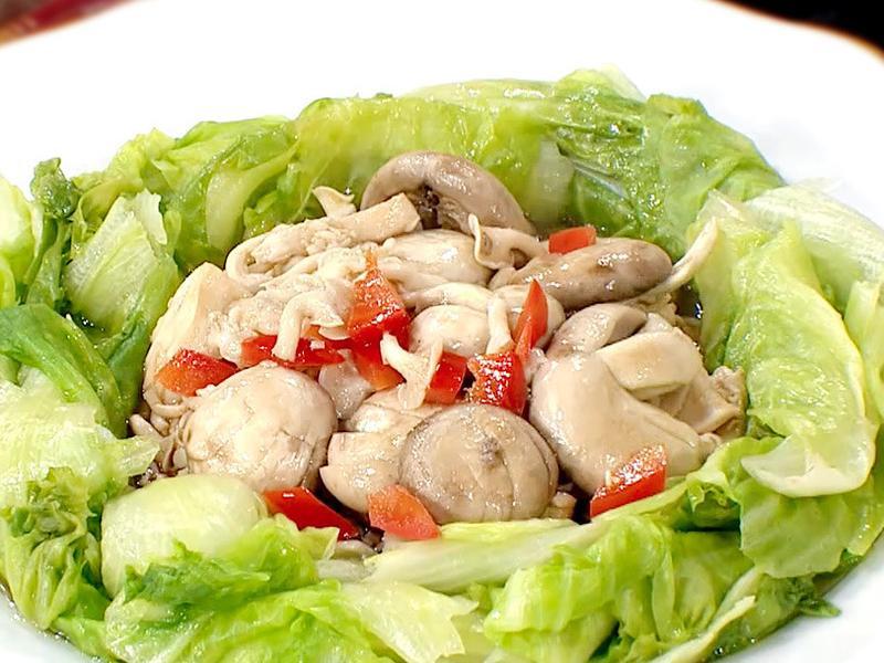 年菜系│麻油蕈菇燴西生菜│快速上桌