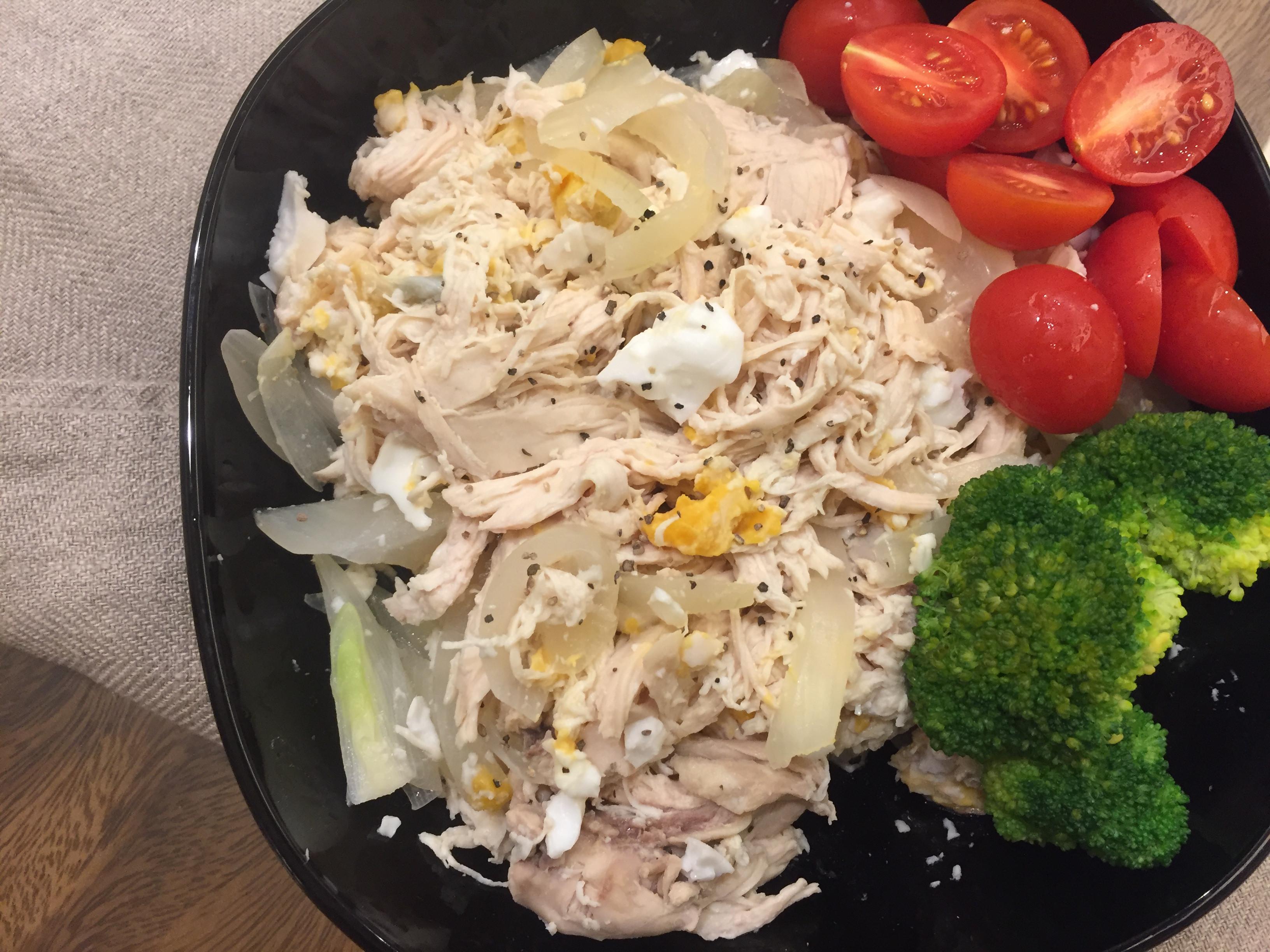 鹹蛋雞絲,高蛋白減肥餐(影片)