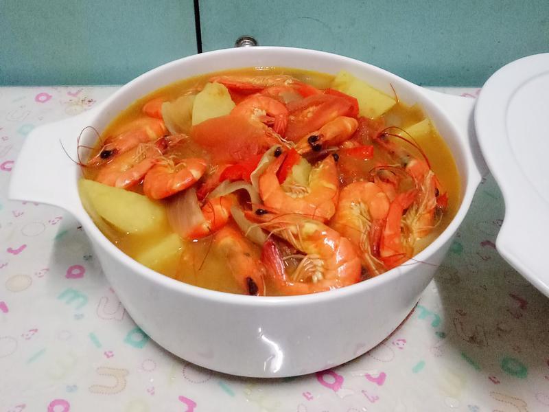 鲜虾咖喱锅