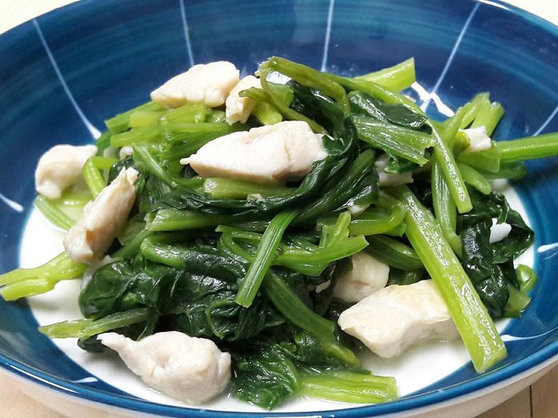 奶油蒜香雞肉炒菠菜~五分鐘上菜