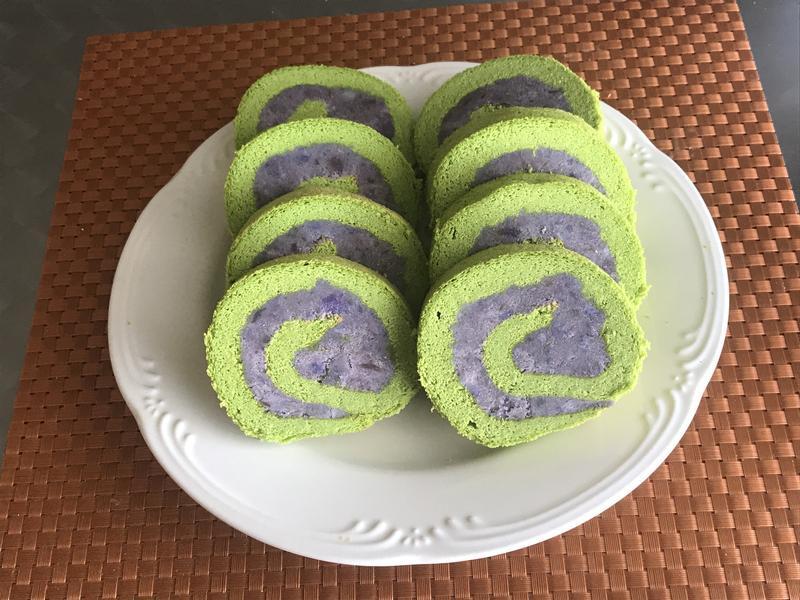 紫薯菠菜蛋糕卷
