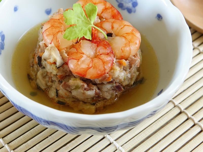 鮮蝦蒸肉餅~簡易電鍋料理