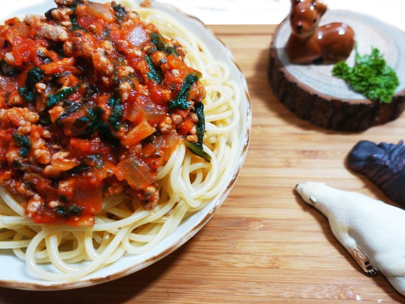 波菜蕃茄辣肉醬(龍息辣肉醬)