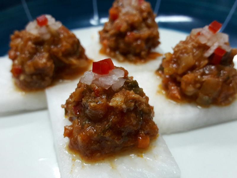 白蘿蔔佐辣肉醬 辣味開胃菜 龍息辣肉醬