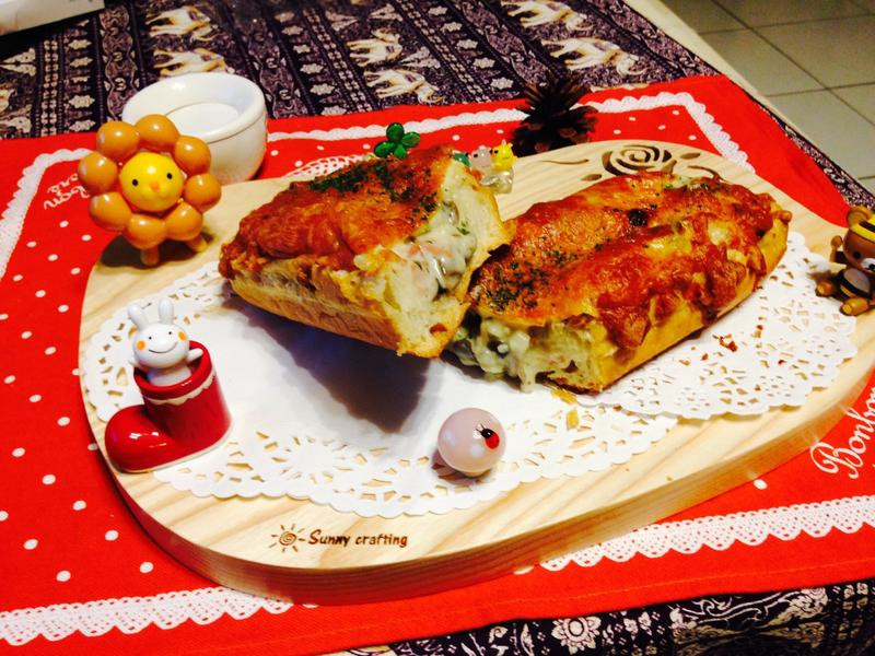 餡料豐富的蘑菇~白醬蘑菇佐法國麵包