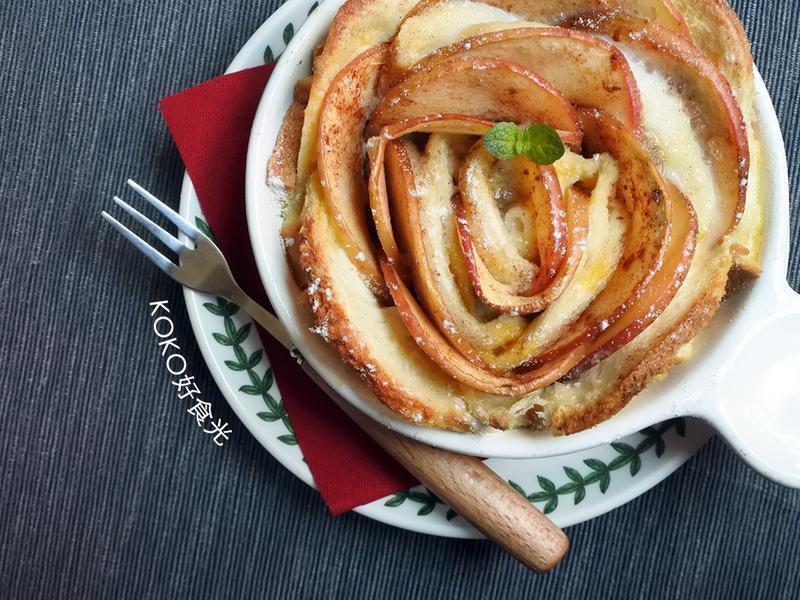 蘋果玫瑰麵包布丁_零廚藝浪漫吃
