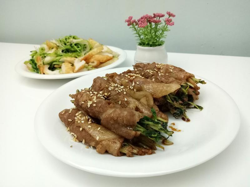 金菇豆苗肉片卷