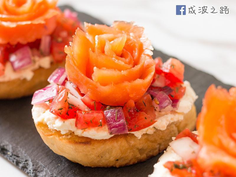 【影片】情人節食譜煙燻鮭魚玫瑰吐司
