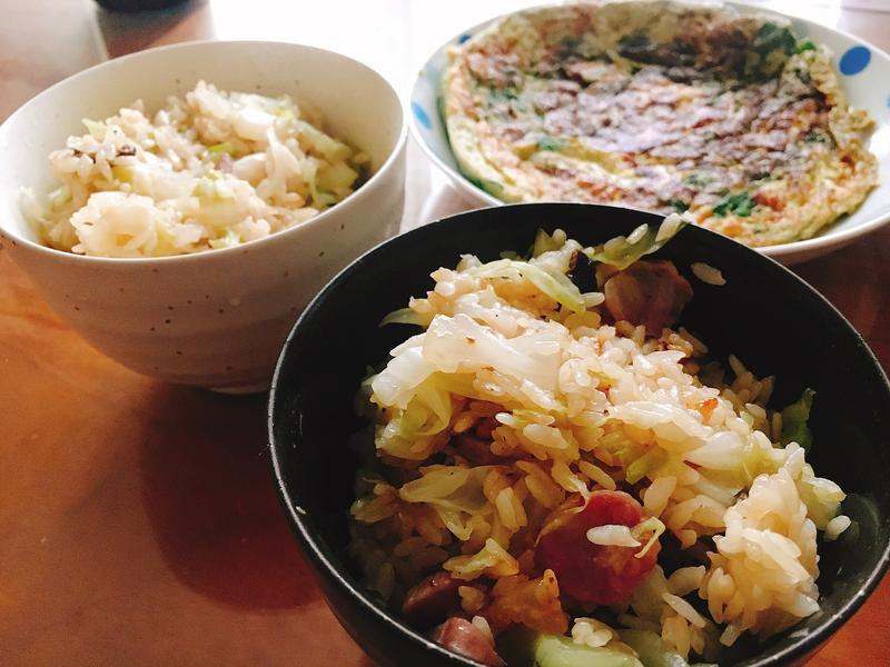 清冰箱懶人料理 臘腸高麗菜炊飯