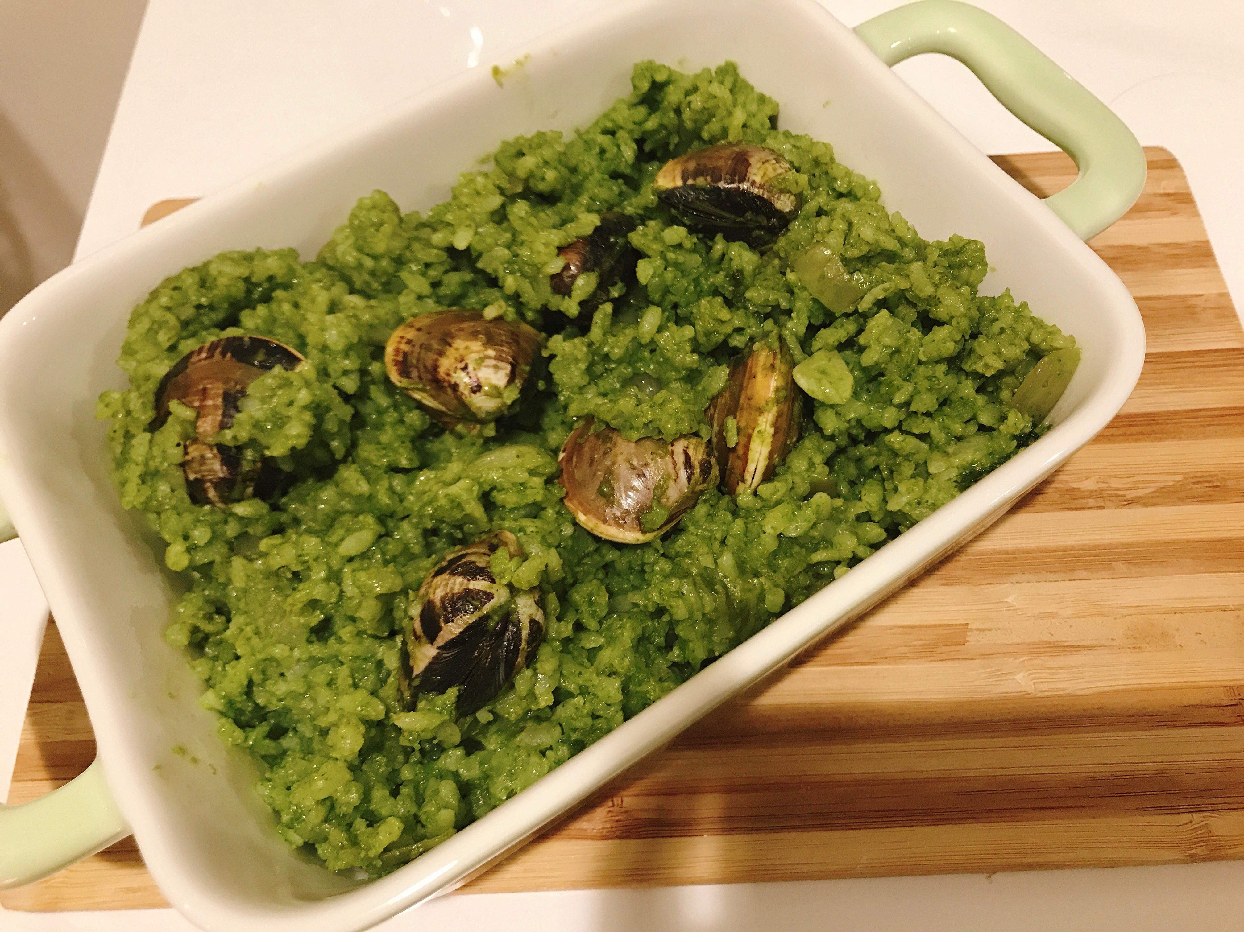 親子共食-青醬蛤蠣燉飯