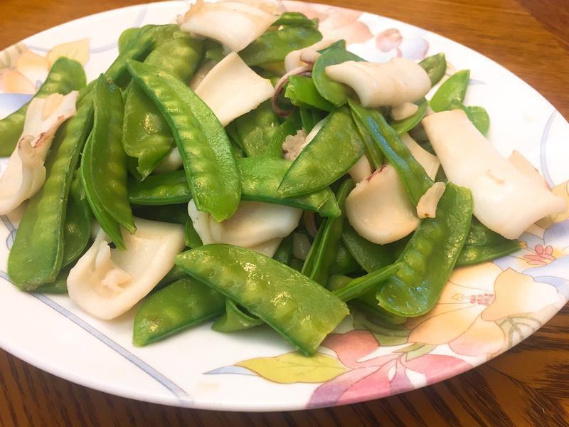 花枝炒碗豆